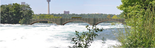 State Parks reveled three designs considered for replacement of the more than 100-year-old concrete arch bridges in the Niagara River channel above the American Falls. Pictured above is one of the concepts, a precast arch bridge. (State Parks photo)