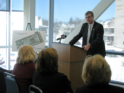 Niagara Falls Mayor Paul Dyster speaks at a press conference Thursday.