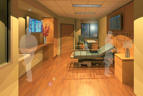 Pictured is an artist's rendering of a cardiac/stroke center bedroom.