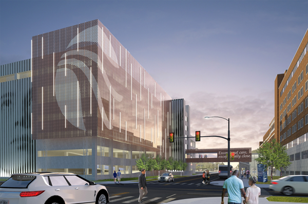 Shown is a rendering by Cannon Design of what the NFMMC parking garage will look like following renovation and exterior redesign.