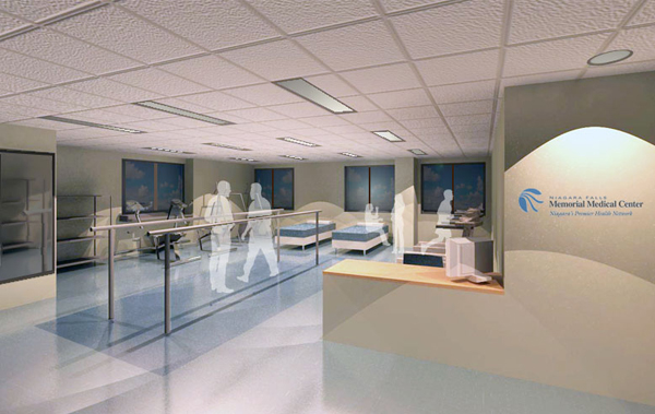Pictured is an artist's rendering of the rehabilitation therapy facility at Niagara Falls Memorial Medical Center.