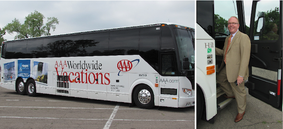 John Percy boards the NTCC-wrapped, 50-seat AAA bus that is headed around the country this summer.
