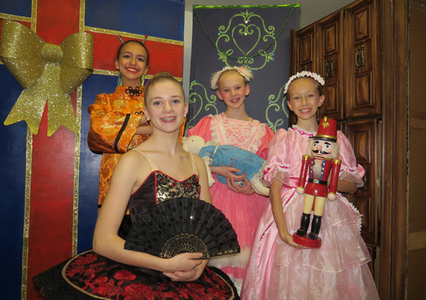 Pictured, from left, are `Nutcracker` dancers Isabella Guerrucci, 13, of Lewiston; Lily Traver, 15, of Youngstown; and Clara stars Bailey Dinel and Carlyn McLean, both 11, and both from Niagara Falls, Ontario. The show is on stage Dec. 9-10 in Niagara Falls, New York. They are joined below by Fritz, Ethan Goyetche, 12, of Niagara Falls, Ontario.