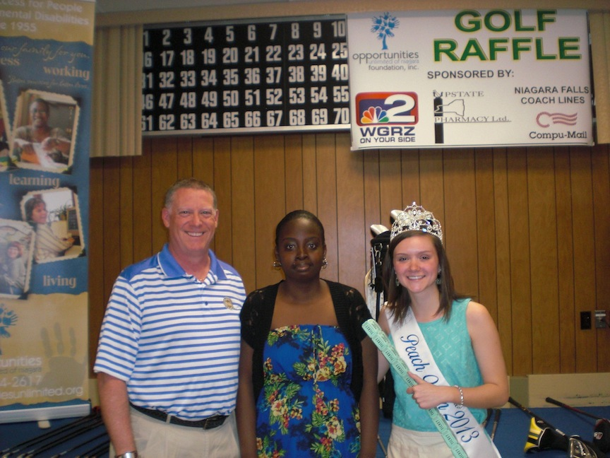 Pictured, from left, are OUN Foundation Board President Peter Lovering, program participant Jackie Gayle, and former Lewiston Kiwanis Peach Queen Maggie Dorian.