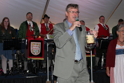City of Niagara Falls Mayor Paul Dyster speaks at last year's Oktoberfest on Old Falls Street.