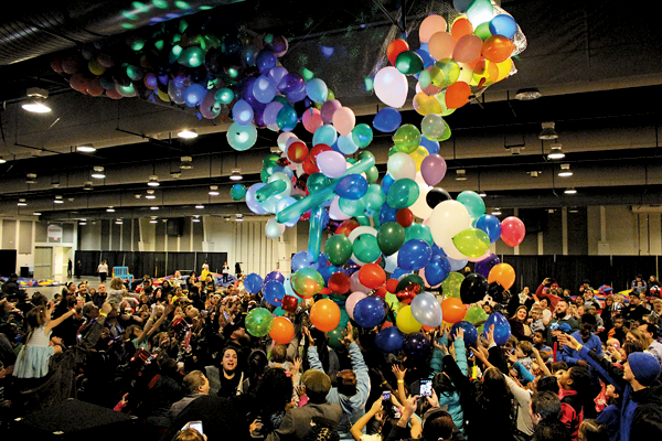Shown is a scene from the balloon drop at last year's `Family Fun New Year's Eve Celebration.` (Photos courtesy of Old Falls Street, USA)