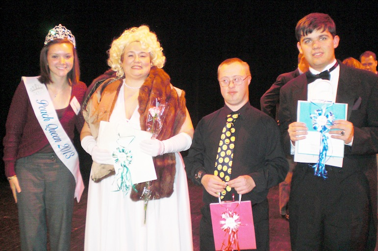 Margaret Dorian, 2012 Lewiston Kiwanis Peach Queen, a judge for `Opportunities Got Talent` and winners: third place - Angela Castillo for her rendition of `Santa Baby`; first place - Darren Huntington for his comedy act; and second place - David Bandinelli playing a Beethoven selection on the piano.