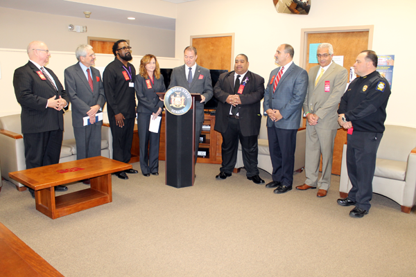 Pictured, from left: Pat Bradley, public relations and communications director at Niagara Falls Memorial Medical Center; Dan Shubsda, president/CEO at Northpointe Council; Marlon Thornton, director of quality assurance at Northpointe Council; Laura Kelemen, Niagara County director of mental health; State Sen. Rob Ortt; Owen Steed, Niagara County legislator; Mark Laurrie, Niagara Falls City School District superintendent; Avi Israel, president, Save the Michaels of the World; and Bryan DalPorto, Niagara Falls Police superintendent.