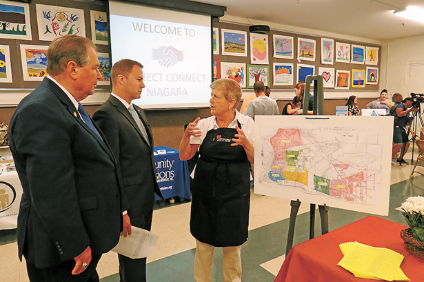 Pictured, from left, Project Connect Niagara keynote speakers Assemblyman John Ceretto and New York State Sen. Rob Ortt listen as Sister Beth Brosmer, director of Heart, Love & Soul, details her agency's outreach map.