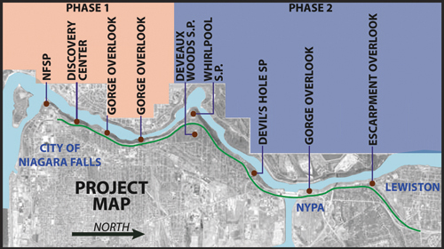 Three remaining Robert Moses Parkway North alternative designs are in agreement regarding the section of roadway between Main Street and Findlay Drive. (Image courtesy of the scoping report presentation.)