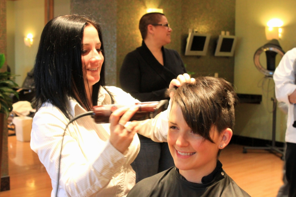 Pictured: Vicki Kehr, manager of The Spa & Salon; Rachelle Fabrizio, server. (Michelle Rajczak, server, in background.)
