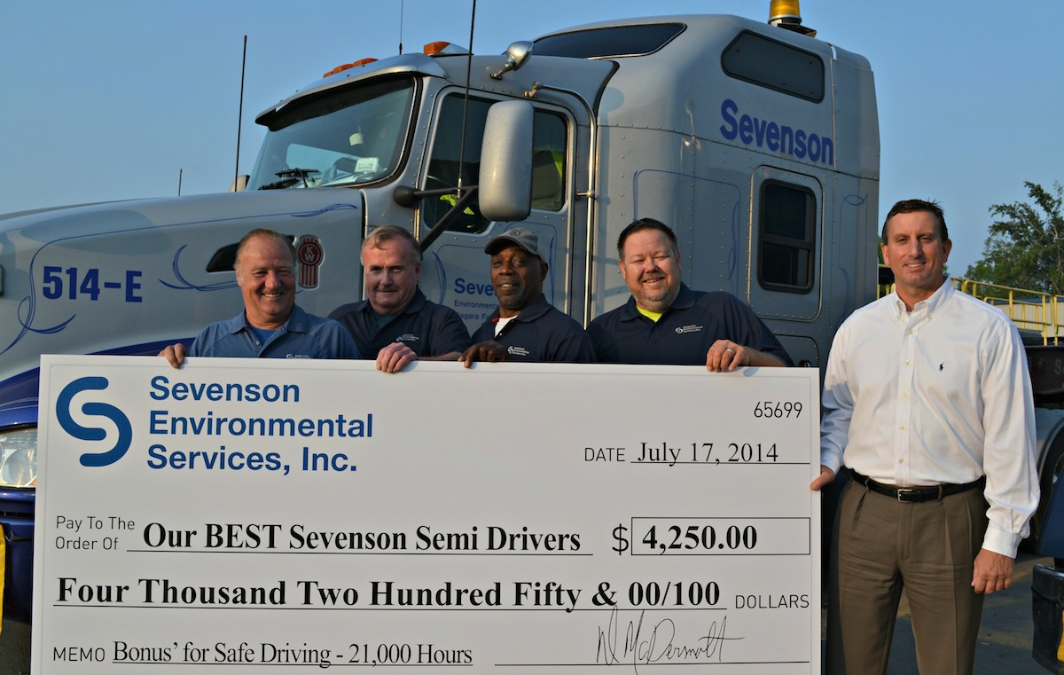 Pictured, from left: Paul Kephart, Chet Worden, Arthur Carter, Mark Jeffords and Alan Elia of Sevenson Environmental.