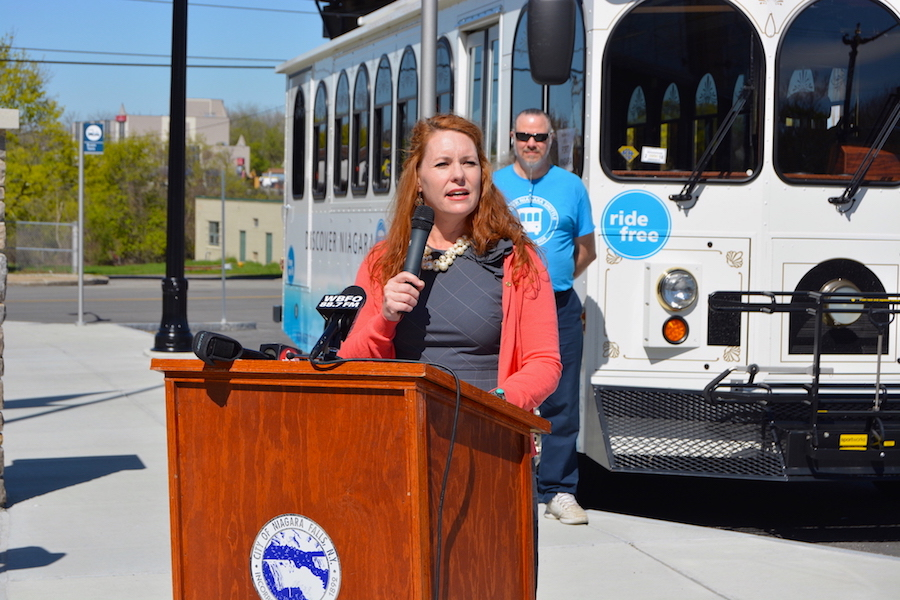 Niagara Falls Heritage Area Director Sara Capen speaks about the new amenities the Discover Niagara Shuttle is offering in 2017.