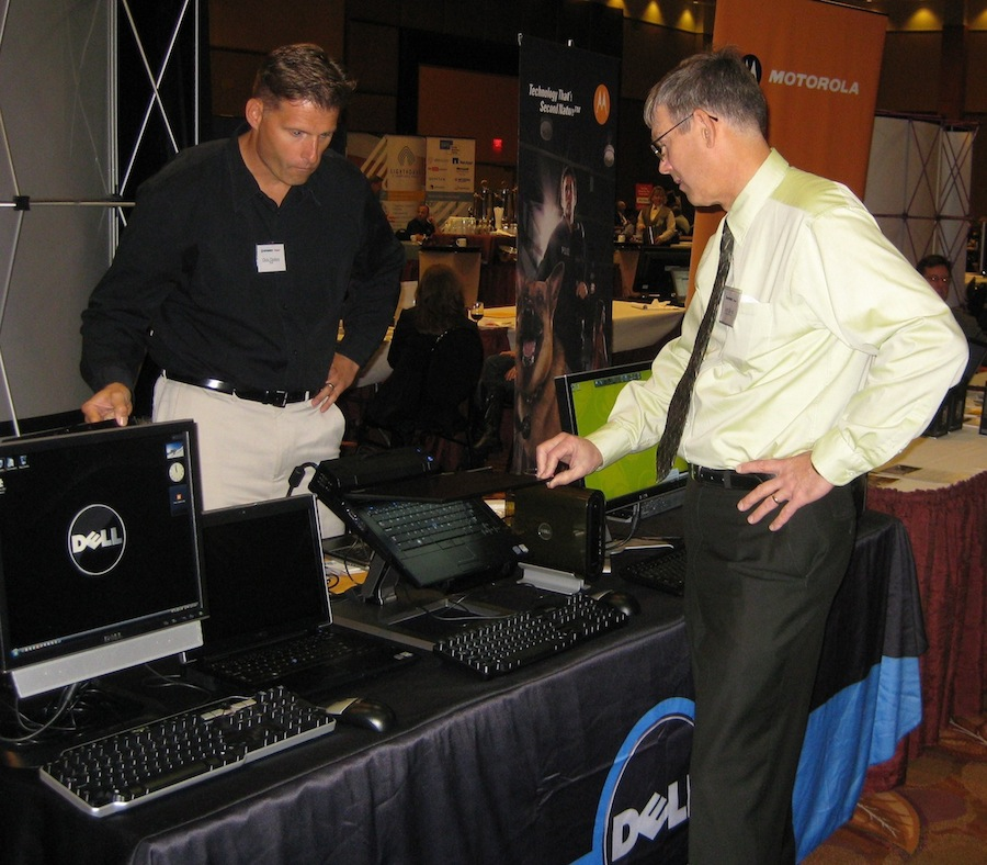 Niagara County Director of Information Technology Larry Helwig checks out the offerings from a vendor at a previous year's Technology & Homeland Security Forum. The annual high-tech showcase organized by Niagara County's IT department and a consortium of technology and security-related groups based in Western New York is slated for Oct. 24 at the Seneca Niagara Casino.