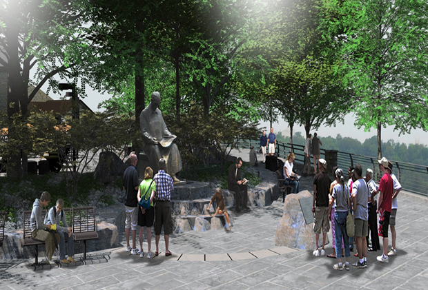 A rendering of the redesigned Stedman's Bluff setting honoring Nikola Tesla.