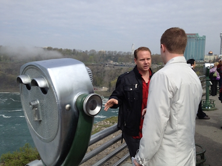 Nik Wallenda discusses his plans with a reporter.