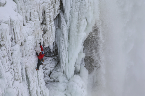 Will Gadd scales the frozen falls. (RedBull photo)