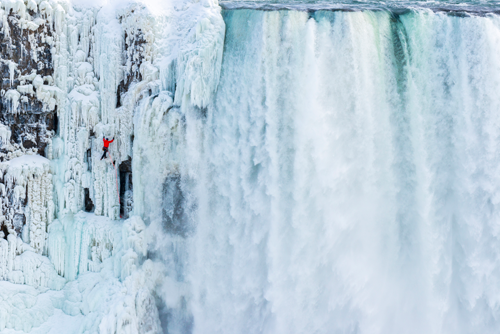 Will Gadd ice climbs the first ascent of Niagara Falls on Jan. 27, 2015. (Photo © Red Bull Media House)