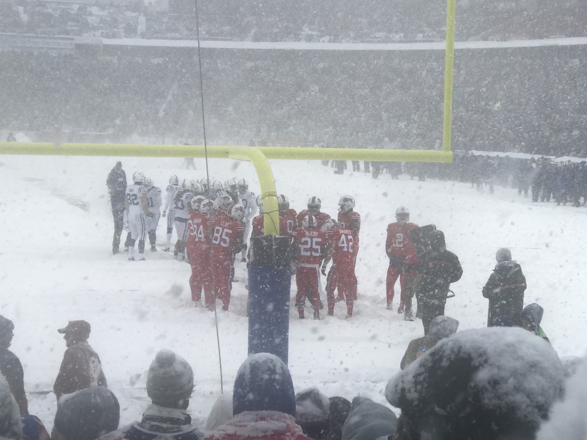 The Bills take the field on a snowy, blizzard like game versus the Indianapolis Colts on Dec. 10. The Bills won the game, 13-7, via a LeSean McCoy rushing touchdown in overtime.