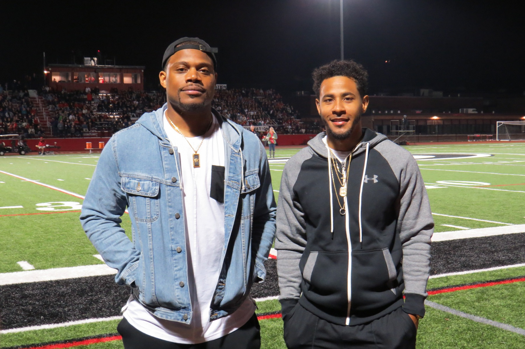 Preston Brown and Justin Gilmore pose for a photo during the Falcons' game in Clarence. (Photo by David Yarger)