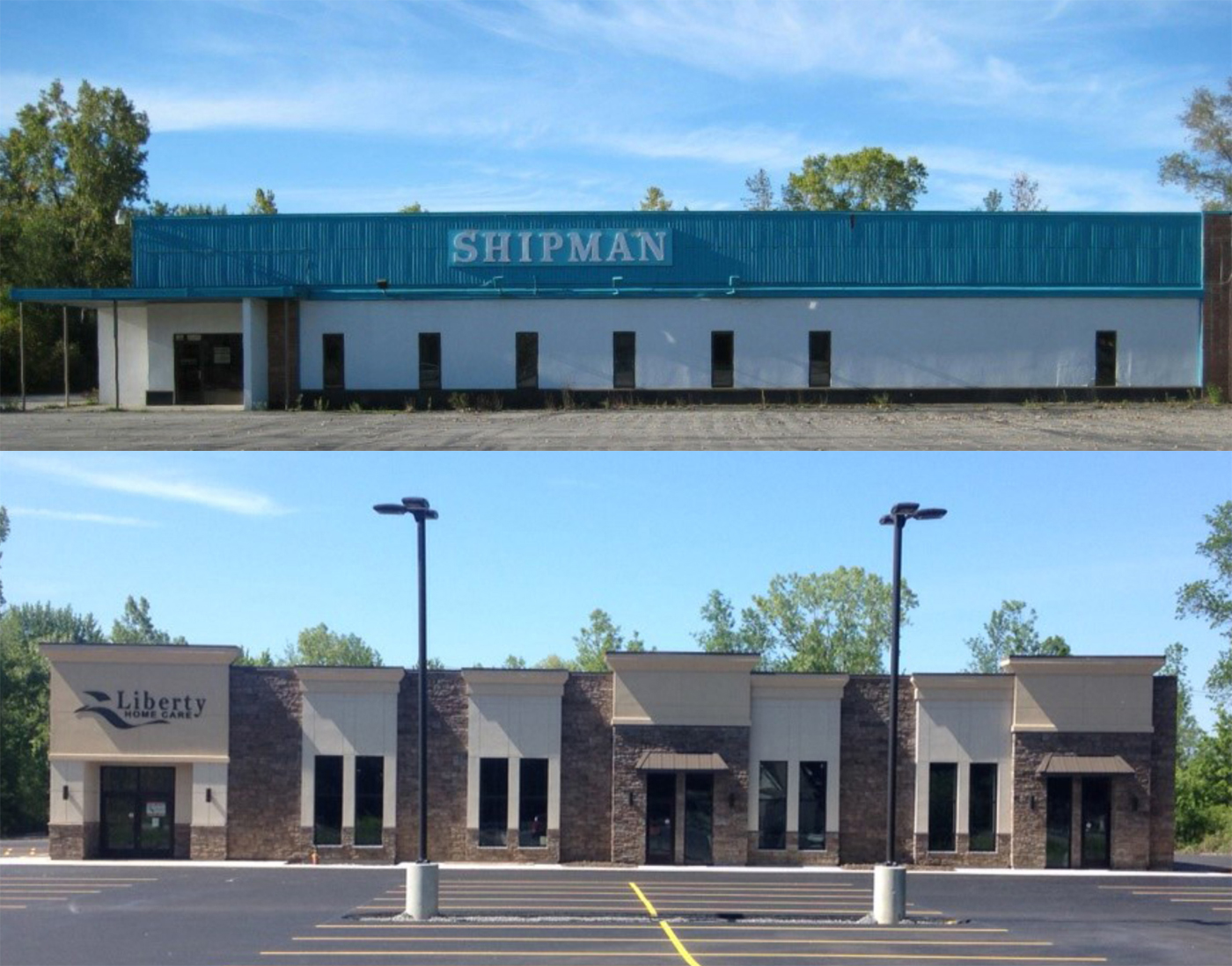 2424 Niagara Falls Blvd., prior to and after transformation to Liberty Home Care.
