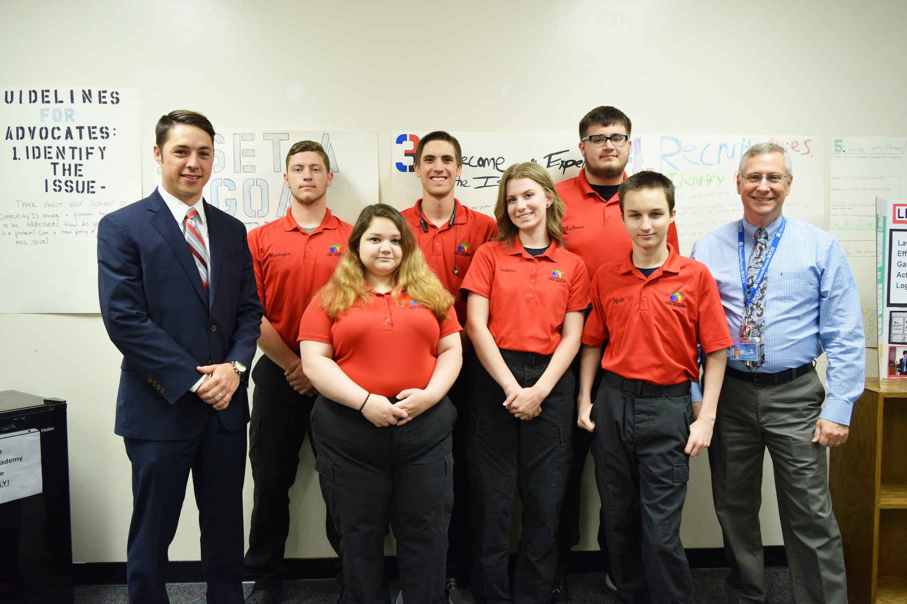 From left, John Granchelli, Assistant District Attorney - Niagara County District Attorney's Office. Back row, from left, Jonathan Huntington (Royalton-Hartland), Brennan Stevens (Lockport), Brandon LaForme (Royalton-Hartland). Front row, from left, Megan Smit (Niagara-Wheatfield), Grace Catalano (Newfane) and Chase Fifield (Lockport). Teacher Gene Newman, far right.