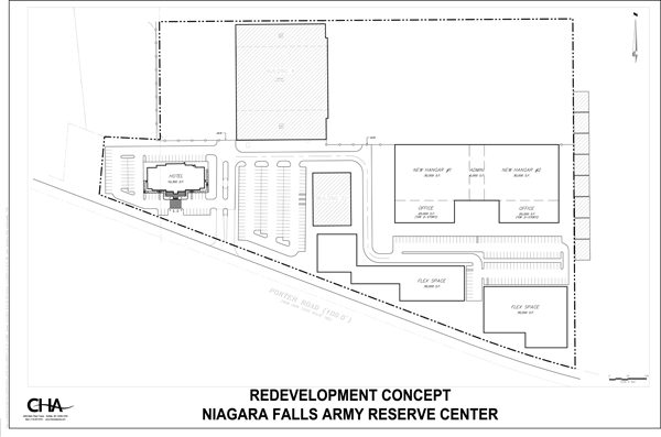 Shown is an artist's rendering of a possible redevelopment concept for the former Niagara Falls Army Reserve site.