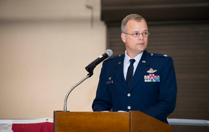 Col. Brian S. Bowman addresses members of the 914th Airlift Wing during the Assumption of Command ceremony.