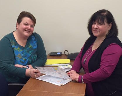 CASE conference organizers Dot Swift, left, and Denise DiPaolo go over plans for the May 11 `Shining the Light on Mental Health` conference to be held at American Legion Post 1451.
