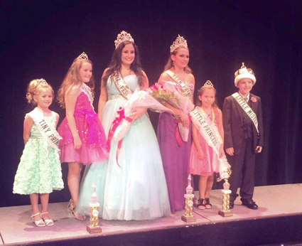 Tiny Princess Peyton Langworthy, Junior Princess Arianna Warriner, Canal Fest Queen Victoria Lyle, Teen Princess Alexis Brock, Little Princess Ella Meierer and Little Mister Anthony Billi are shown at the 2014 Canal Fest pageants. (Contributed photos)