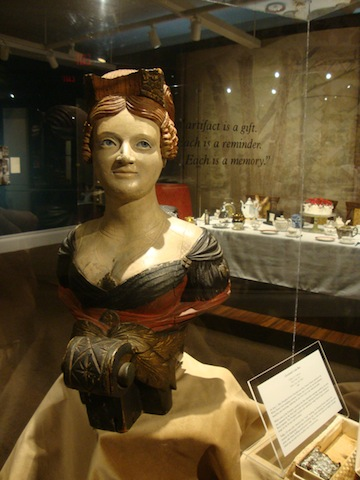 Pictured is figurehead of the `Caroline` - Buffalo History Museum exhibit (photo courtesy Buffalo History Museum). The `Caroline` was a steamer built circa 1820-25. She was in service in many places, including Buffalo. Upon Lake Erie, she was hired to smuggle arms, munitions and supplies to a group of Canadian patriots plotting rebellion from Navy Island. The Caroline was attacked by English troops Dec. 29, 1837, set ablaze and sent over Niagara Falls. The figurehead was recovered in the lower Niagara River by Jack Jewett and later presented to the Buffalo Historical Society. The Caroline figurehead is wooden and 19 inches high.