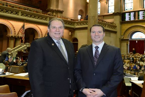 Assemblyman John Ceretto, left, and North Tonawanda Mayor Robert Ortt discussed how they could better serve North Tonawanda's residents at the Capitol this week.