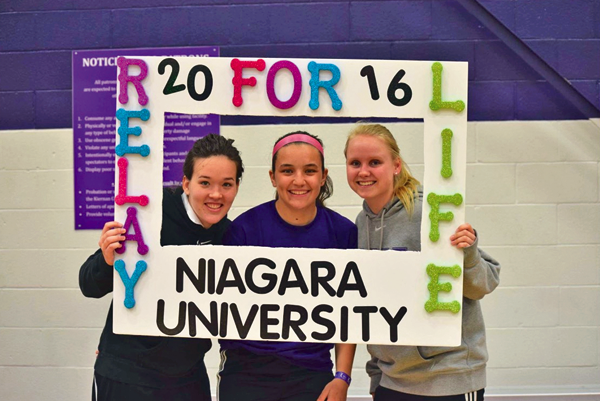 Niagara University students participate in last year's Relay For Life on campus. From left, are Laura Ortiz, Morgan Genovese and Shania van Nuland. (Photo courtesy of Olivia Wood)