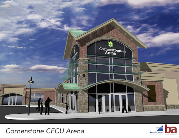 An artist's rendering of Cornerstone CFCU Arena in Lockport.