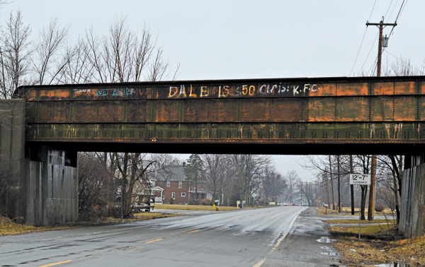 Railway bridges, including this one on Niagara Road in Bergholz, were brought up as some of the unsightly areas residents would like to see improved when work resumes on Niagara Falls Boulevard.