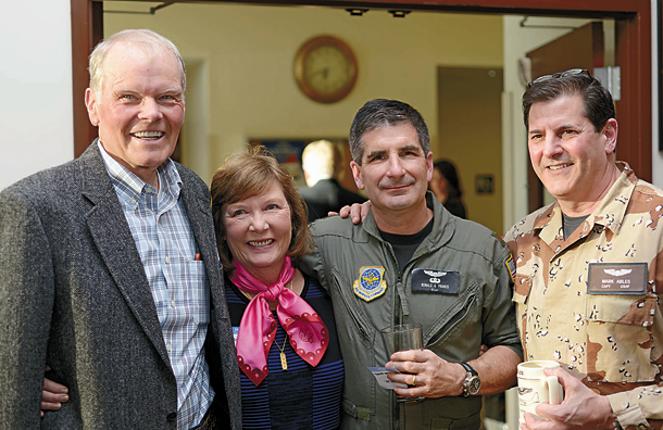 Lt. Col. Mark Ables, 914 Airlift Wing, poses alongside former members of the 914th Airlift Wing.