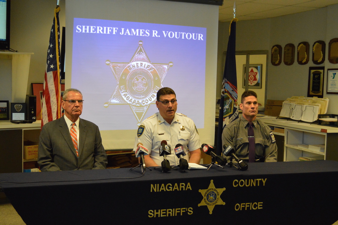 From left, District Attorney Michael Violante, Niagara County Sheriff James Voutour and Capt. James Hall of the New York State Police.