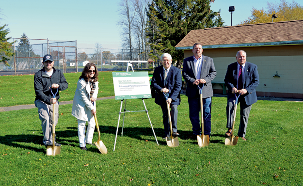 From left: Town of Wheatfield Recreation Director Mike Ranalli, Regional Grant Administrator Noelle Kardos, Town of Wheatfield Supervisor Robert Cliffe and Town of Wheatfield councilmen Randy Retzlaff and Gilbert Doucet mark the beginning of the Fairmount Park improvement project with a ground breaking ceremony.