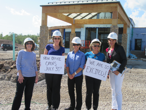 From left, Debbie Coletti, office administrator; Julie McGovern, front-office supervisor; Pam Phillips, technical supervisor; Joellyn Maurer, bookkeeping supervisor, and Kathleen Otto, coordinator of marketing and outreach, stand outside the new Fichte Endl & Elmer Eyecare office to open soon at the new Niagara Medical and Ambulatory Surgical Park in the Town of Niagara. (Contributed photo)