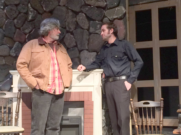 L. Don Swartz as Doc, left, speaks with Trey Wydysh as Junior during a rehearsal for `Murder in the Smoky Mountains` at the Ghostlight Theatre. (Contributed photo)