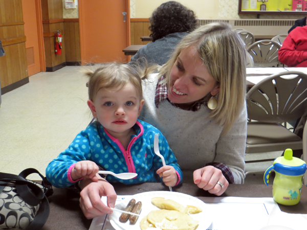 Shown are Emilia and Holly Smith at last year's pancake breakfast.