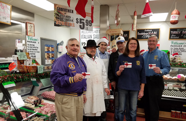 Pictured, from left, at Pellicano's Marketplace are Wheatfield Lions Bill Ross, Paul Pellicano, Chris Pellicano, Paul Wilson, Chairperson Nancy E. Rosie and Walt Garrow.
