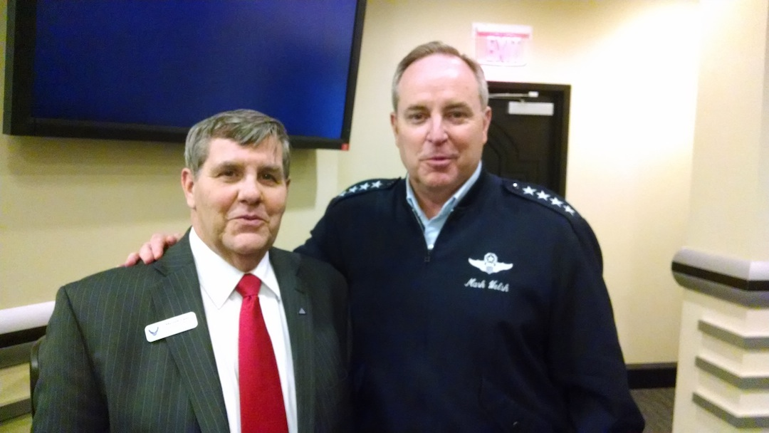 Merrell Lane with Air Force Chief of Staff Gen. Mark Welsh.