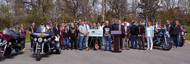 Niagara County officials, motorists and local supporters gather for a group photo during Friday's safety rally.
