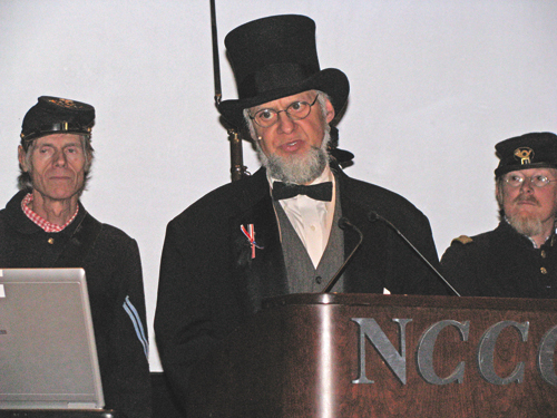 Above, at the podium, Jeff Bloomquist delivered President Lincoln's Gettysburg Address.