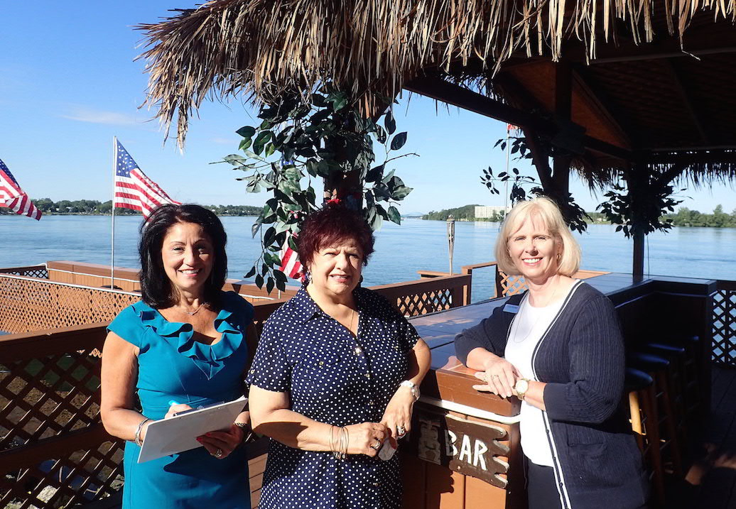 Clambake committee members check out Shores Restaurant. Pictured, from left: Chamber of Commerce Executive Director Angela Johnson-Renda, Linda Carere Hankinson and Cindy Burkett.