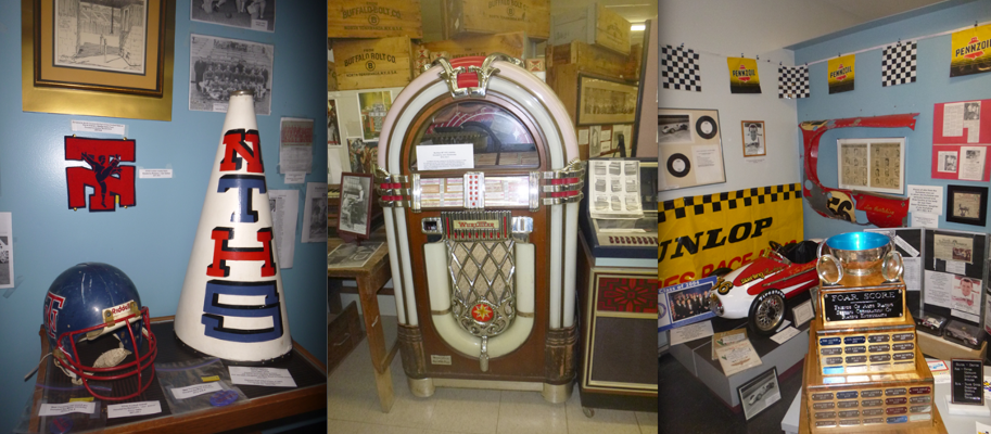 Memorabilia from North Tonawanda sports programs, a room devoted to Jim Hurtubise, a Wurlitzer jukebox, programs from Melody Fair and generations worth of wedding dresses are on display at the North Tonawanda History Museum. (Photos by Jill Keppeler)