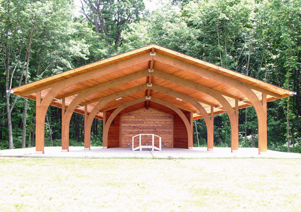 Shown is an example of the same model of bandshell headed to North Tonawanda. (Photo courtesy of Cedar Forest Products Co.)