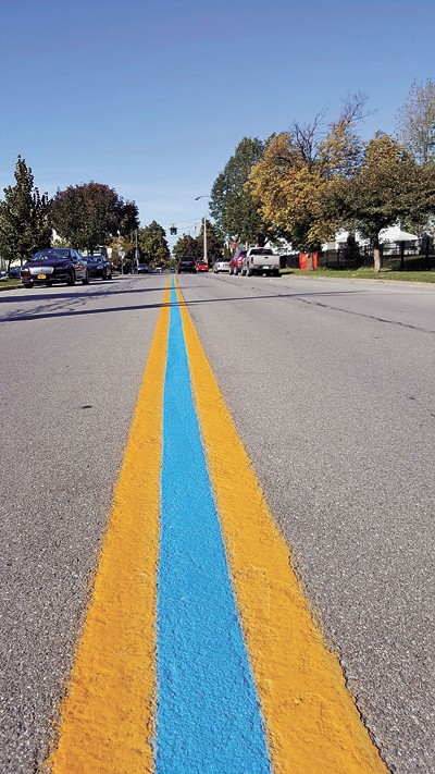 Shown is a photo the new blue line painted on Payne Avenue to show appreciation for members of the North Tonawanda Police Department.