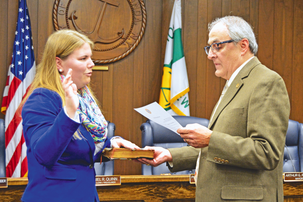 Katherine D. Alexander is sworn into her new position as North Tonawanda City Court judge by Mayor Arthur G. Pappas.